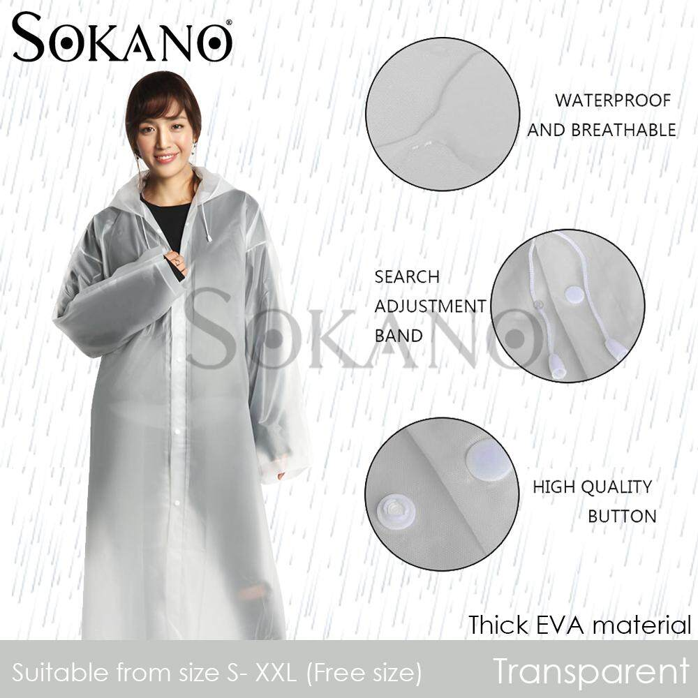 SOKANO EVA Thick Reusable Rain Coat Unisex Rain Coat Baju Hujan Suitable for Outdoor and Travel