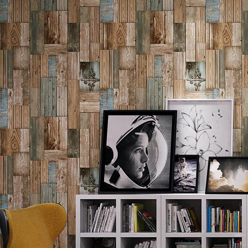 Do Old Retro Industrial Wind Imitation Wood Grain Color Board Personalized Wallpaper For Cafe Leisure Bar