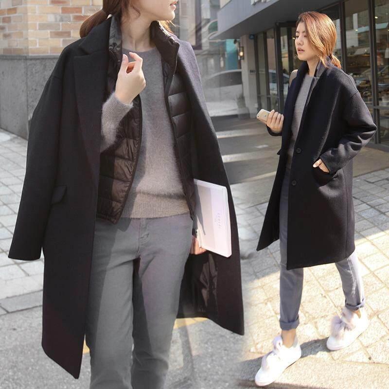 Tren Baru Korea Mantel Musim Dingin Wol Jaket & Mantel Fesyen Musim Dingin Pakaian Wanita Panjang