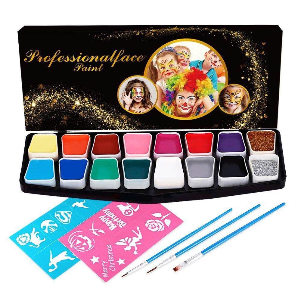 Comfkey 16 colors Face Paint Set, Color Washable Eco-friendly Body Paint Make-