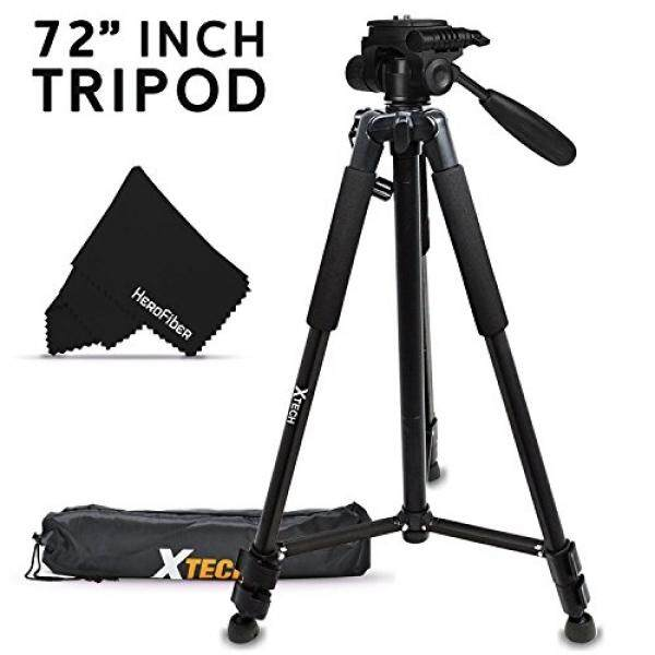 Durable Pro Grade 72 inch Full size Tripod with 3 way Pan-Head, Bubble level indicator, 3 Section Aluminum alloy lock in legs for Nikon D750 Nikon D5500, D5300, D5200, D5100, D3300, D3200, D3100, D7100, D7000, D750, D4, D4S, D3, D3S, D3X, D810, D800,