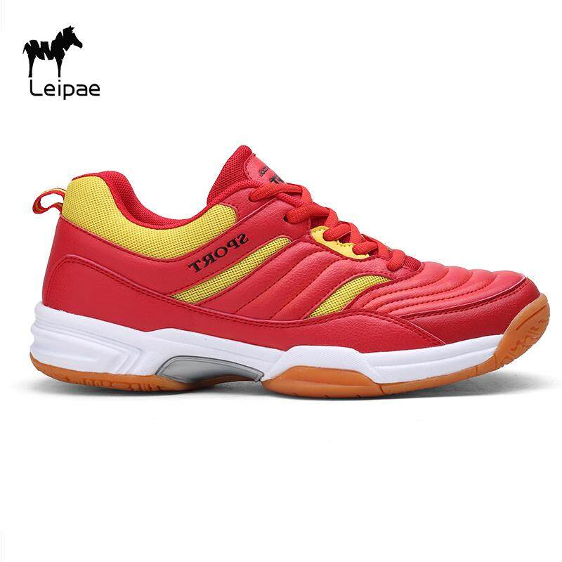 Leiape Men and women Comfortable and Anti-skid Professional Cushion Badminton Shoes Leather Sepatu Badminton