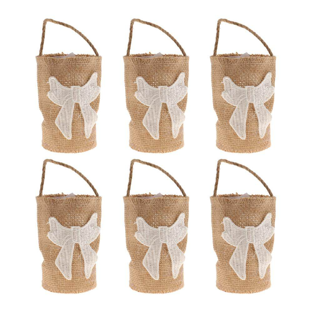 GuangquanStrade 6pcs Bowknot Linen Burlap Sack Sweets Bags with Handle Wedding Gift Favor