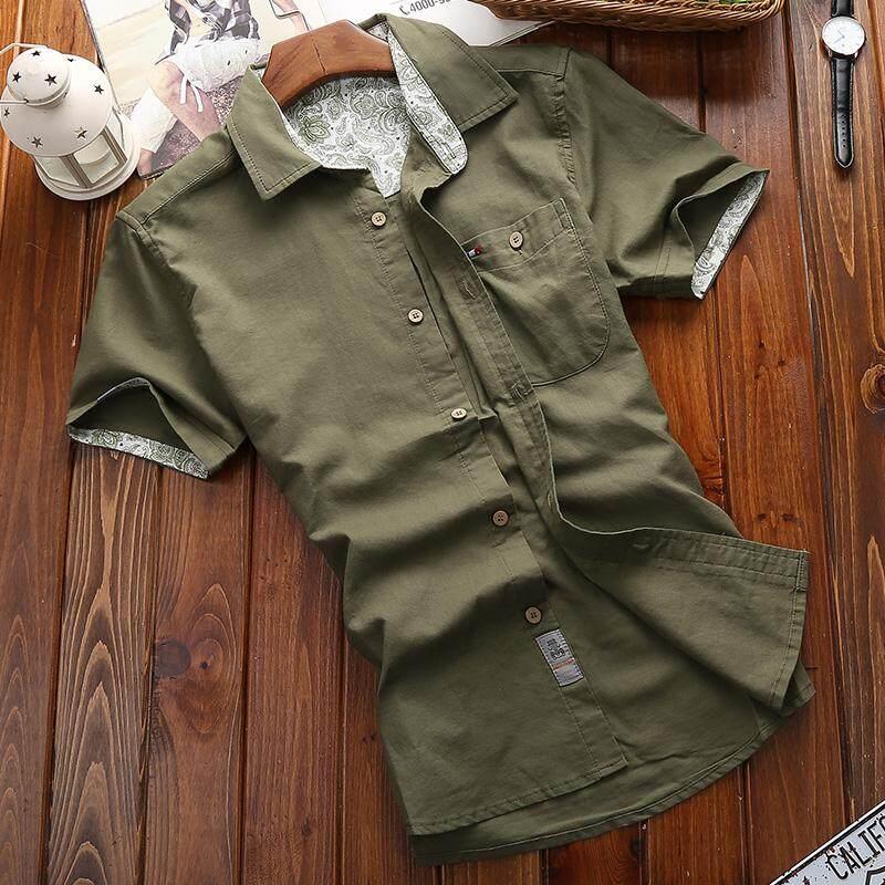 Medan Perang Atasan Sepatu Linen Kemeja Pria Kasual Kain Linen Warna Polos Pria (Hijau Tentara)