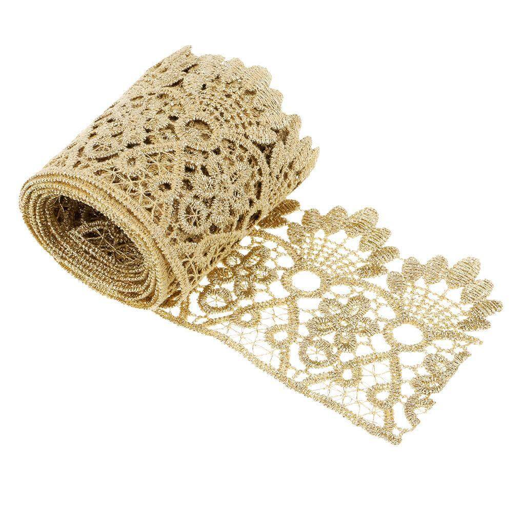 Magideal 1 Yd Vintage Crown Lace Trims Embroidered Diy Trimming Floral Ribbon Gold By Magideal.