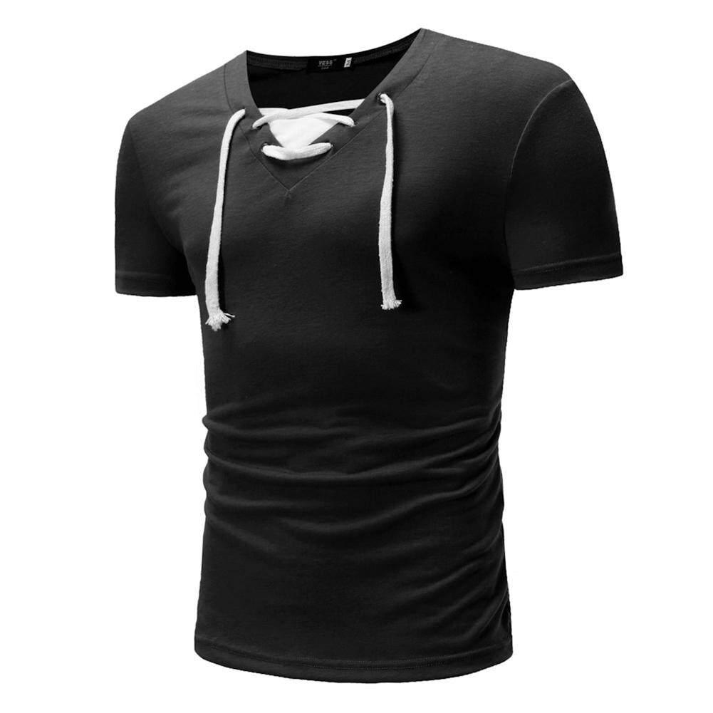Olahraga Pria Palsu Dua T-Shirt Slim Atasan Katun By Super Star Mall