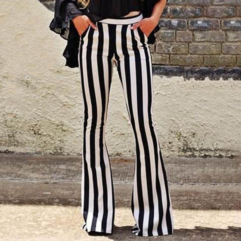2018 Women's Fashion Flare Jeans Ladies Sexy Wide Leg Striped Pants Trousers