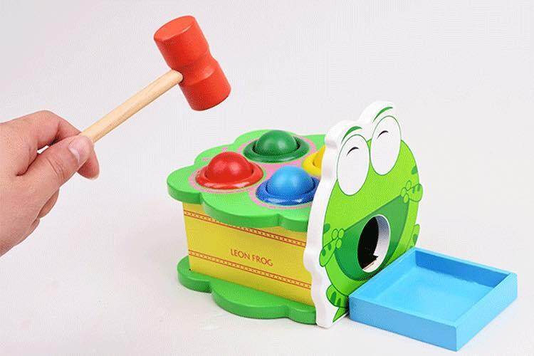 [All4kids] Wooden Frog Pounding Playset