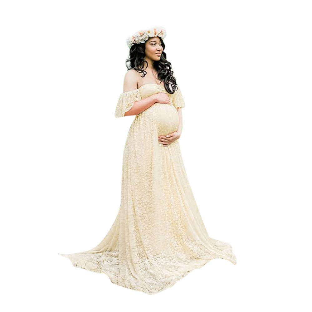 Features Pregnant Women Chiffon Maxi Dress Maternity Gown ...
