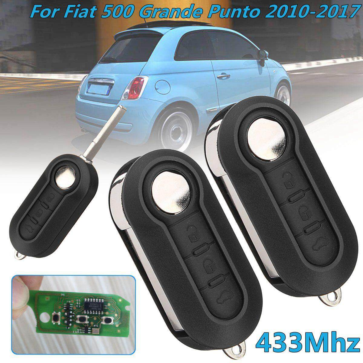 2Pcs 3 Button 433Mhz PCF7946 Chip Remote Key For Fiat 500 Grande Punto 2010-2017