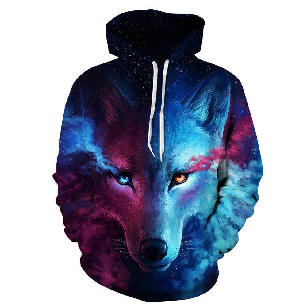 Kuhong 3d พิมพ์ Space Galaxy Wolf กราฟิกเสื้อกันหนาวเสื้อกันหนาวเสื้อกันหนาว Hoodie - Intl.