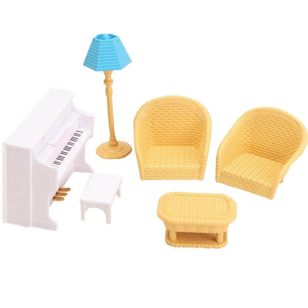 Children Toys Mini Doll House Piano Sofas Table and Chair Set without Doll