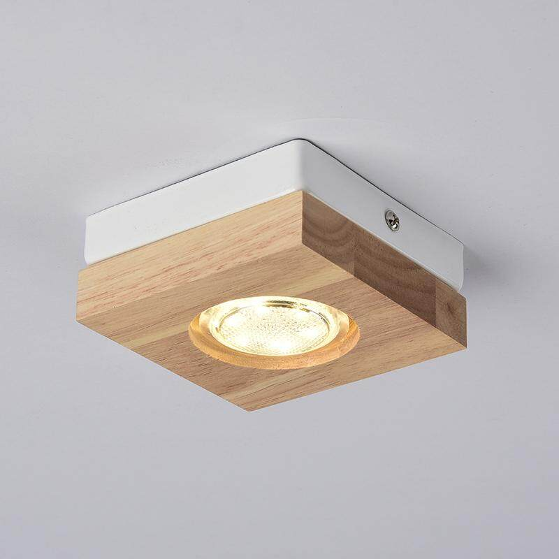 BS Modern Led Ceiling Lights Wooden Ceiling Lamp For Corridor Wood Kitchen Lights Small Surface Mounted Lamp With 3w Bulb (Square/Round)