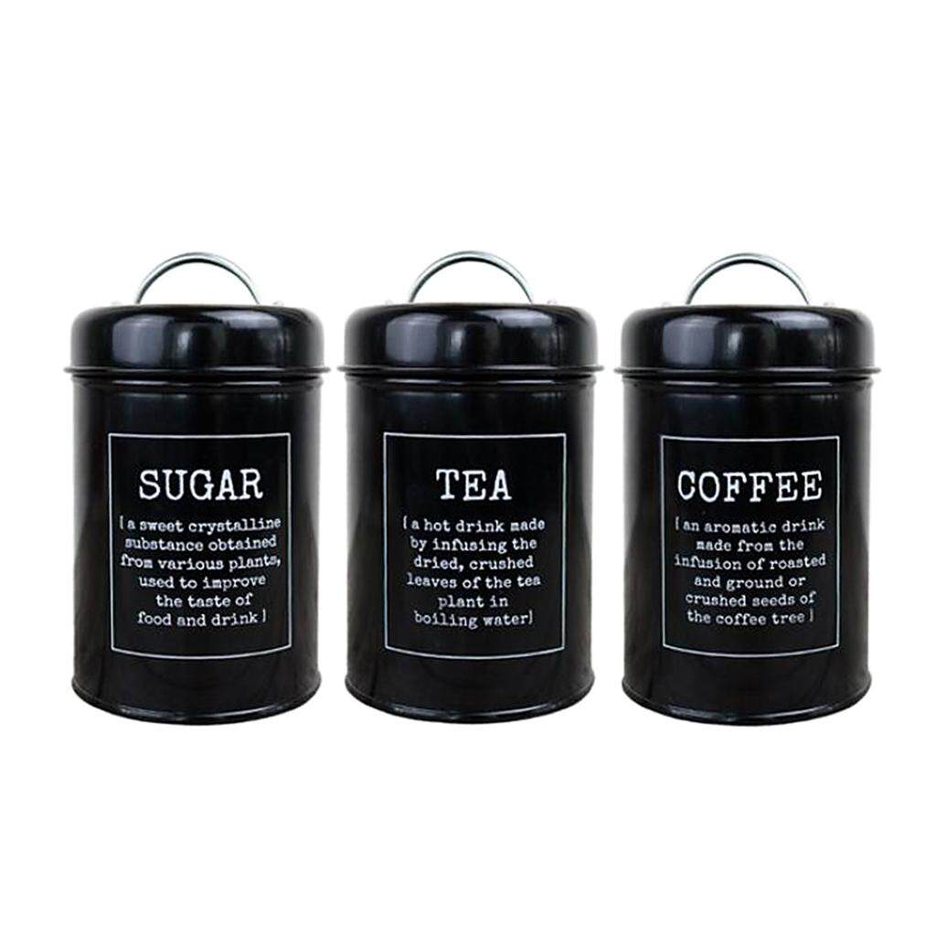 af153aa59a37 BolehDeals Tea Coffee Sugar Kitchen Storage Canisters Jars Pots Containers  Tins Black