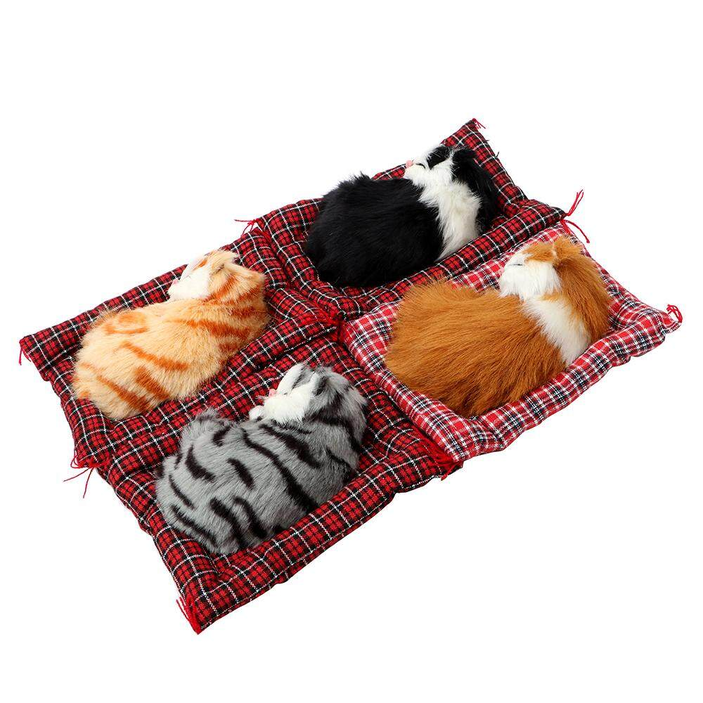 Cute Simulation Sleeping Cats Car Ornaments Dashboard Decoration Lovely Plush Kittens Doll Toy Gift For Children ...