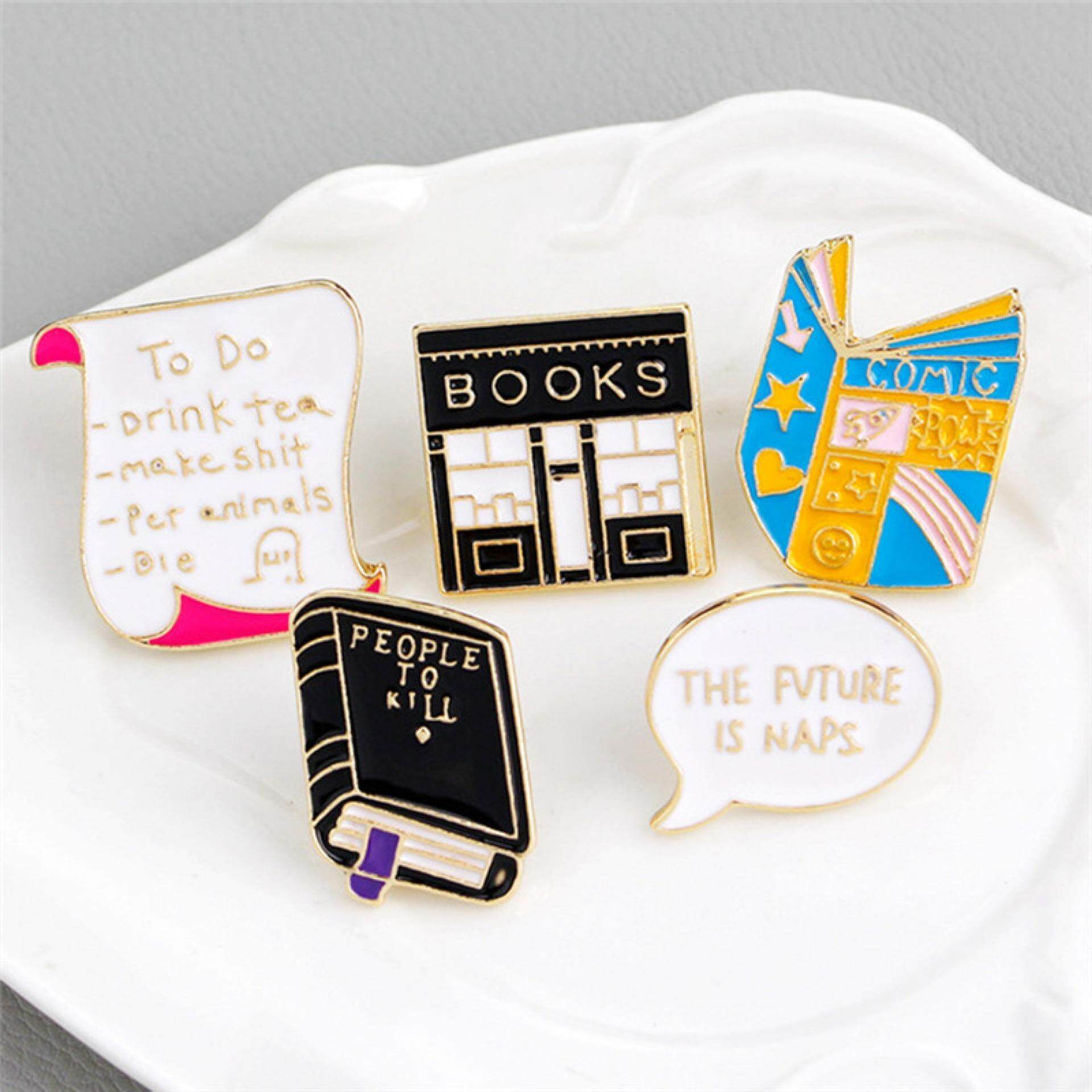 Apparel Sewing & Fabric Cartoon Book Brooch Badges Read Lapel Pins Funny Jewelry Book Brooches Backpack Bag Accessories Special Buy