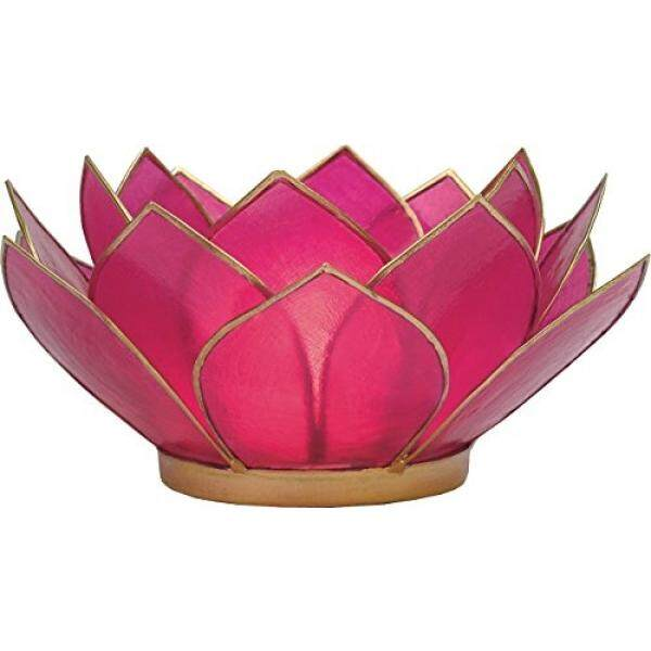 Luna Bazaar 3-Layer Capiz Lotus Candle Holder (2.25-Inch, Nani Design, Fuchsia Pink, Gold-Edged) - For Use with Tea Lights - For Home Decor, Parties, and Wedding Decorations / From USA