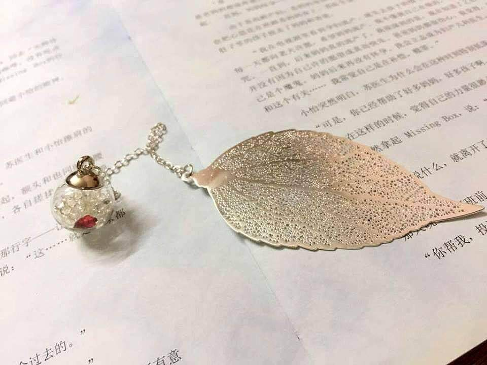 Silver Leaves Bookmark With Red Flower