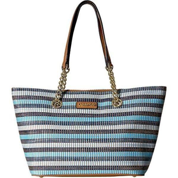 08a63e6ee Calvin Klein Key Item Chain Raffia Tote, Blue/Multi Stripe Raffia - intl