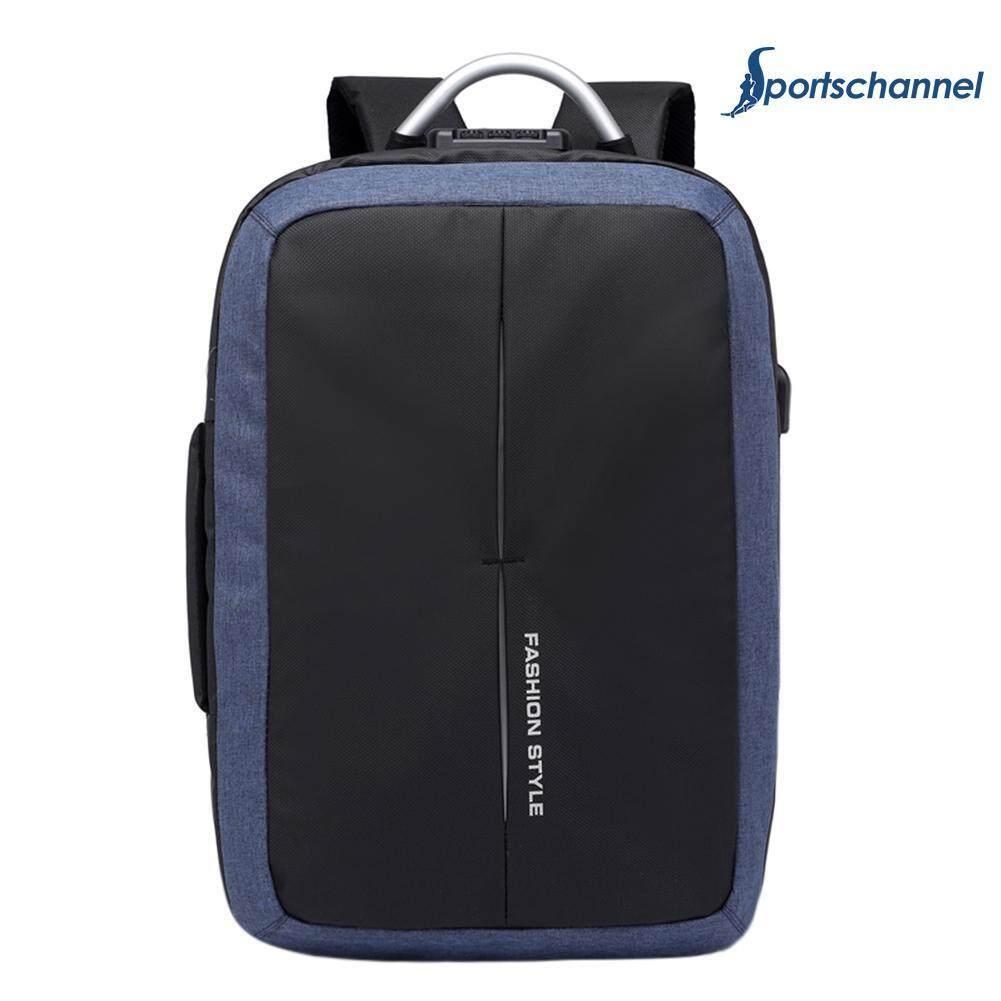 Sportschannel Men Fashion Zipper Business Canvas Backpacks USB Charge Shoulder Schoolbag Rucksack - intl(Dark Blue)