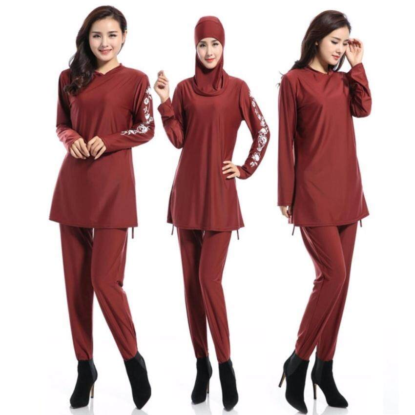 d167e6d4153 Women Plus Size Printed Floral Muslim Swimwear Fashion Muslimah Islamic  Swimsuit Swim Surf Wear Sport Clothing