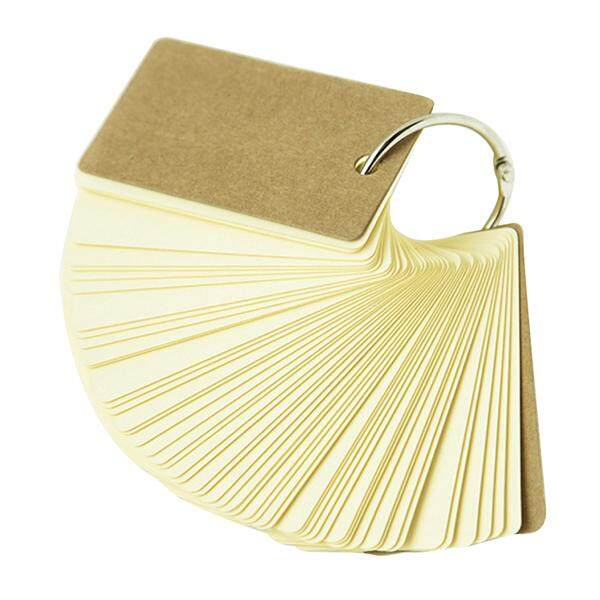 2pcs Binder Ring Easy Flip Flash Cards Study Cards, 100 Blank Pages,yellow