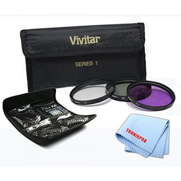 52mm Vivitar 3 Piece UV, CPL, FLD Filter Kit for Nikon D3200, D5000, D5100 , D5200, D5300, D7000, D7100, D1H, D2H, D2X, D3, D3S, D3X, D4 & More + Tronixpro Microfiber Cloth