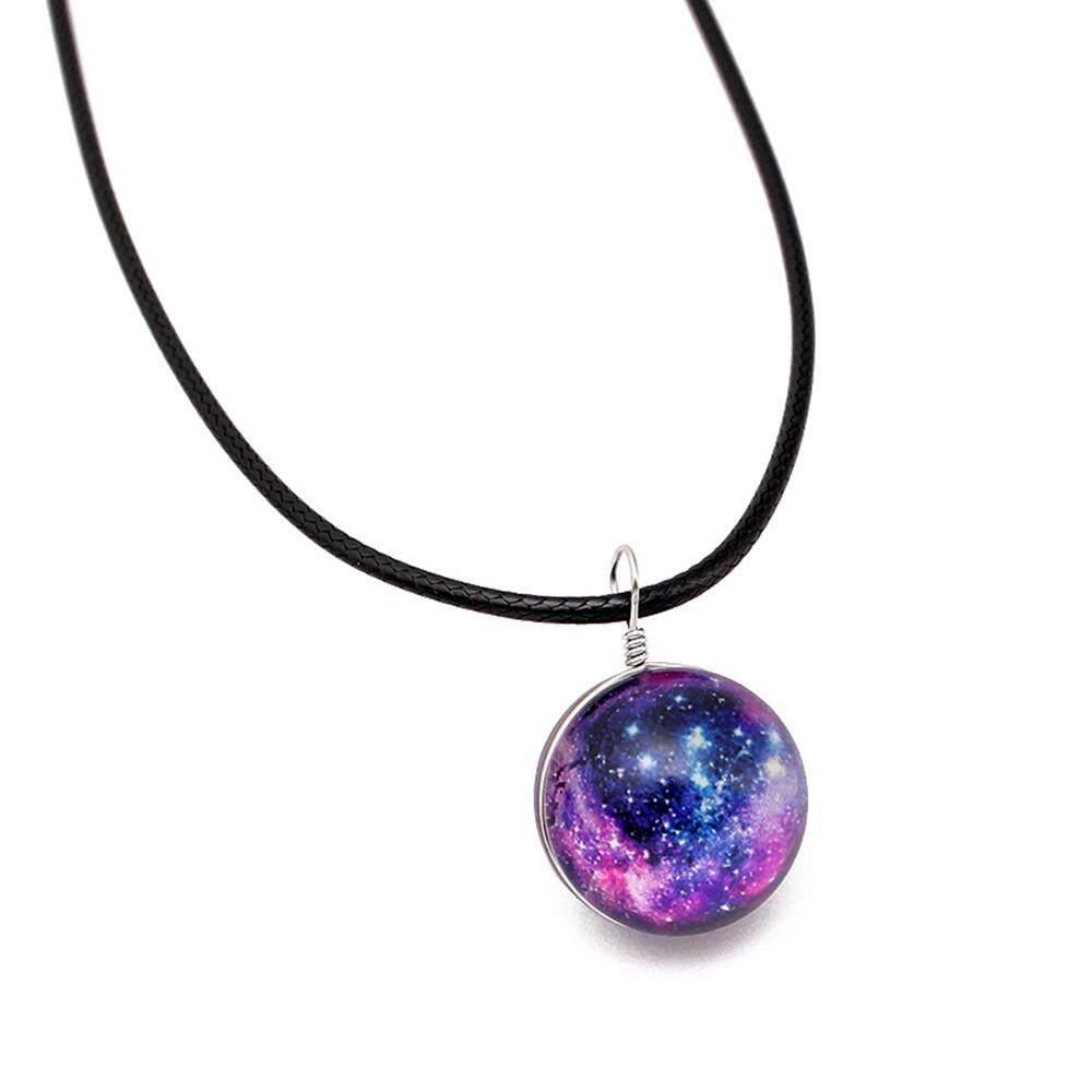 Coconie Retro Galaxy Kính Bóng Mặt Dây Chuyền Vòng Cổ Phát Sáng trong bóng tối Sao Vũ Trụ Choker