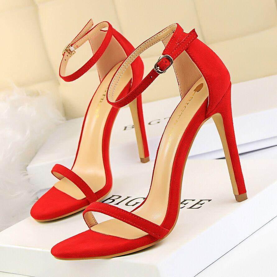 Musim Panas Hak Tinggi Modis Sandal untuk Wanita Telanjang Pompa Gesper Sepatu Hak Tinggi Wanita Sepatu Sandal Wanita Sandal Bertumit 34 ~ 40 - 4