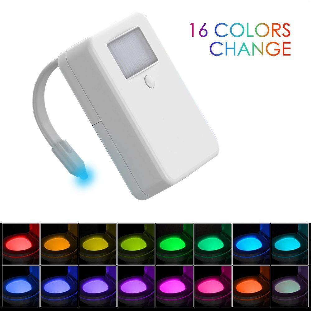 OXOQO 16-Color Motion Activated Toilet Light Night Toilit Light LED Light Changing Tolet Bowl Nightlight For Bathroom Perfect Decorating Illumibowl Water Toilite Light