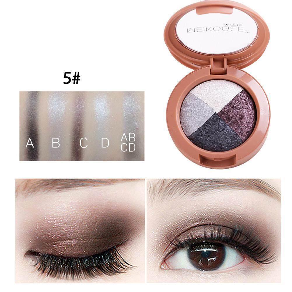 Leegoal Nuansa Baru Eyeshadow 4 Warna Mini Bedak Padat Palet Pemulas Mata Mata Make Up Kosmetik, #5-Intl