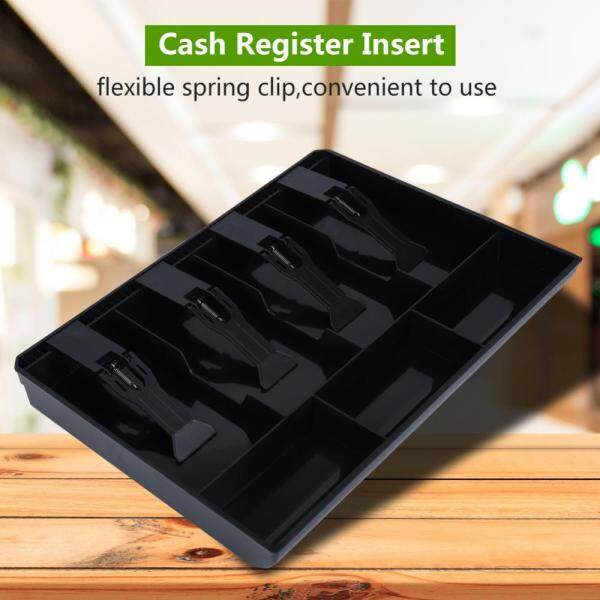 (Black+White)Cash Drawer Insert Tray Replacement 4 Bills 3 Coins Money Storage Box - intl