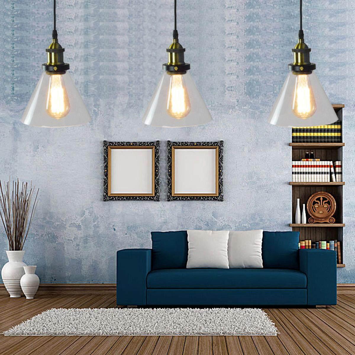 Glass Shade Vintage Industrial Fitting Ceiling Pendant Light Chandelier Bar Lamp