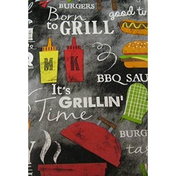 Summer Fun Flannel Back Vinyl Tablecloths BBQ Time - Assorted Sizes (60 Round)