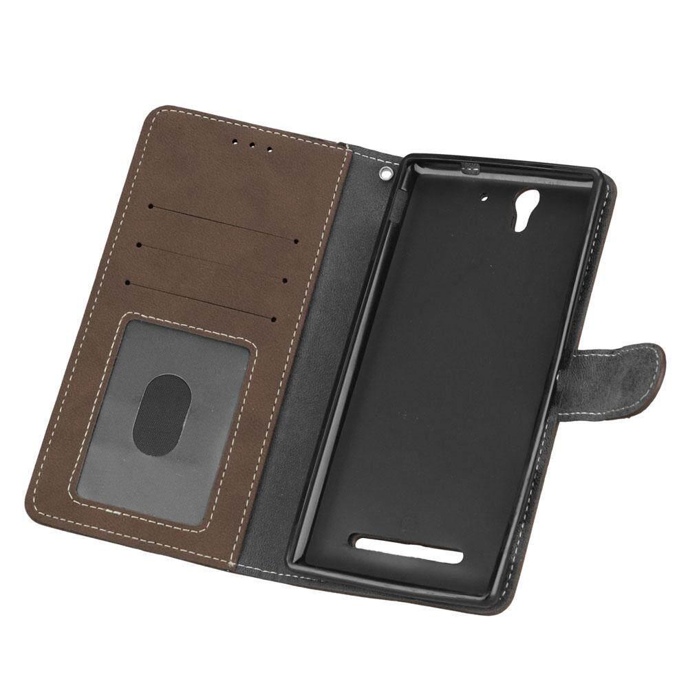 Untuk Sony Xperia C3 Case-Modis Klasik Gaya Dompet Stand Cover Ponsel .