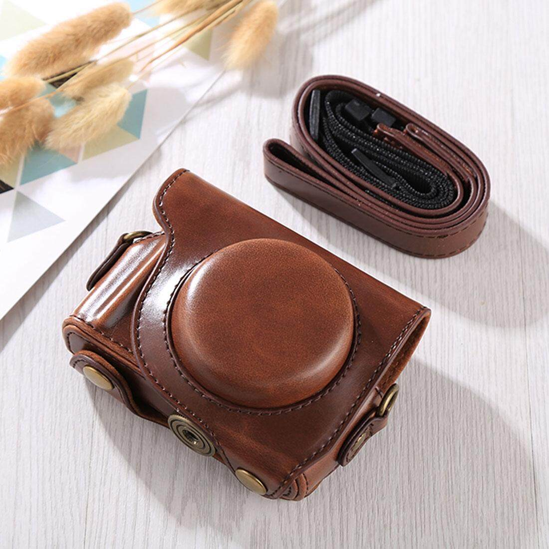 Full Body Camera PU Leather Case Bag with Strap for Canon G9X / G9X II (Coffee)