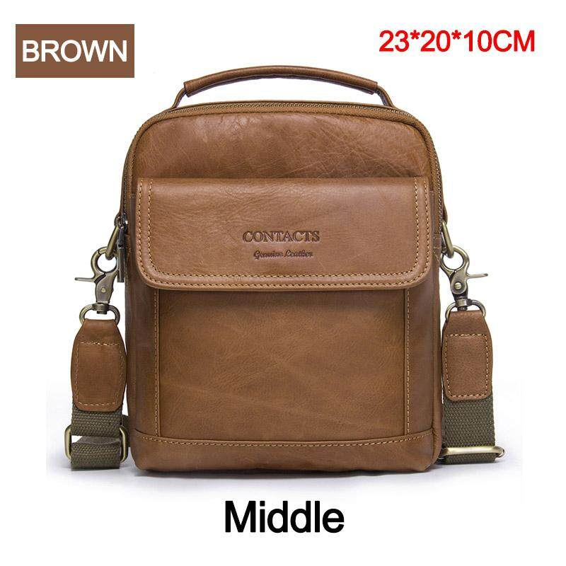 4b9313fd6755 CONTACT S MB082-BLACK Genuine Cow Leather Messenger Bags Flap Casual Men  Solid Handbags Famous Brand