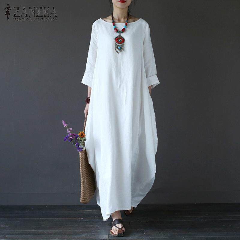 2018 ZANZEA Womens Crewneck 3/4 Batwing Sleeve Baggy Maxi Long Shirt Dress Casual Party Kaftan Solid Robe Vestido Plus Size (Off White)