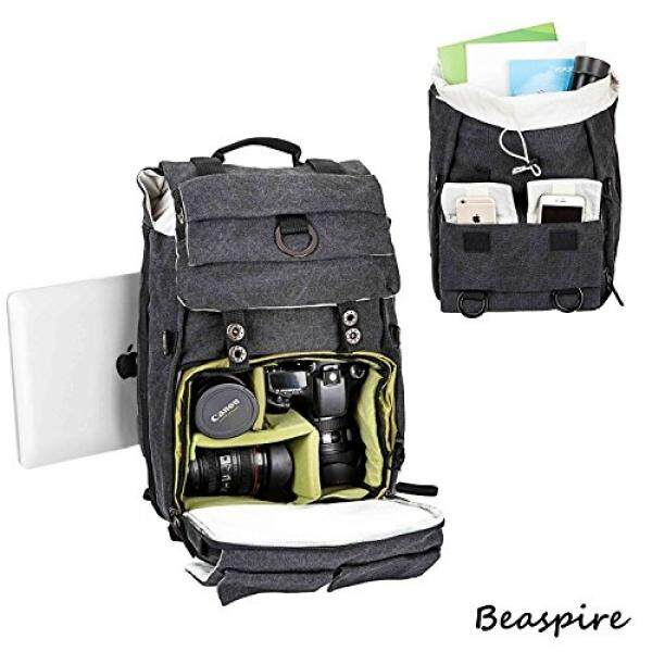 Beaspire 14-inch Laptop Camera Backpack Professional Hiking and Travel Bag with Dividers Laptop Compatible with DSLR Sony Canon Nikon Olympus Cameras Lens and Accessories fit Men and Women