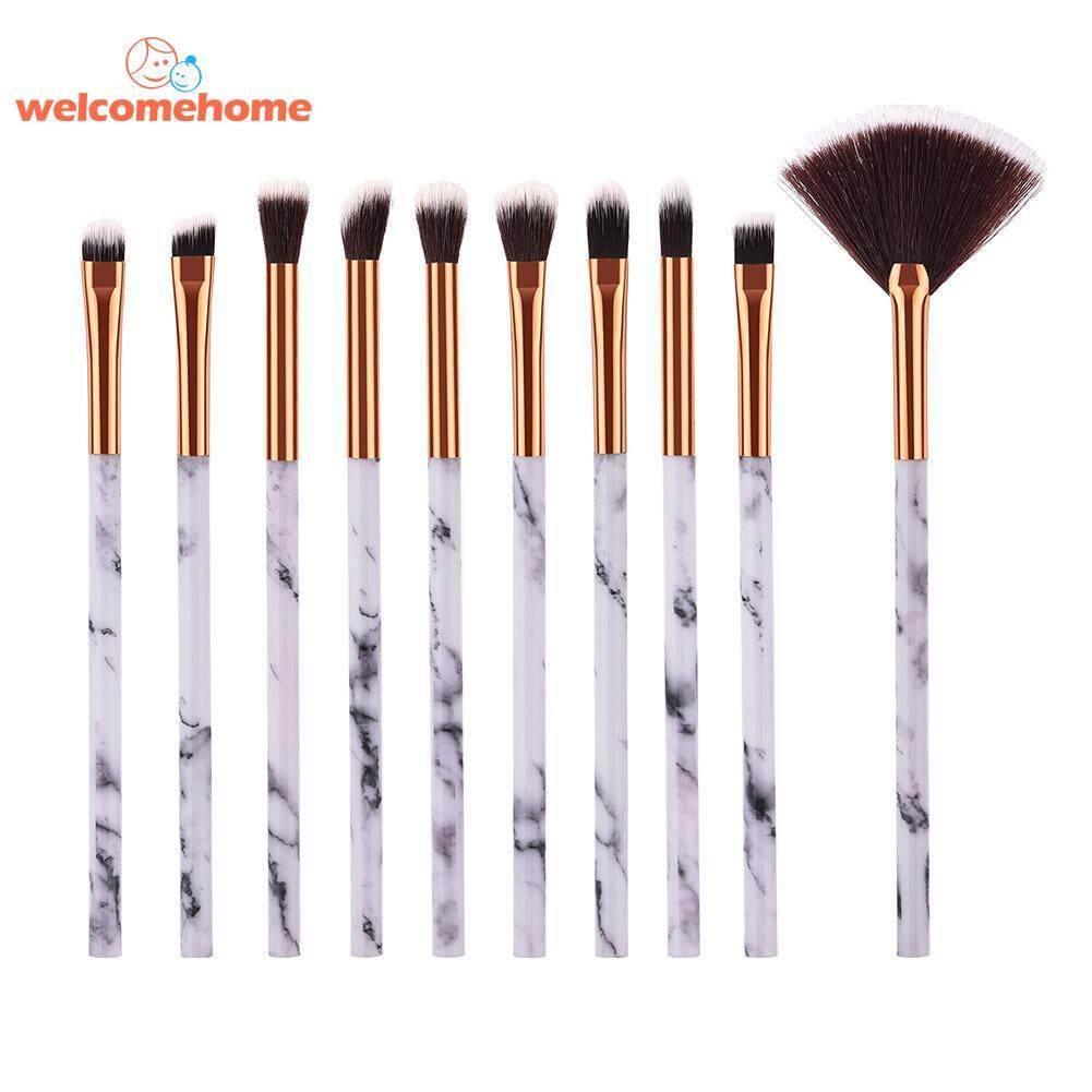 10pcs Marble Pattern Makeup Brushes Set Concealer Eyebrow Eyelash Blending Tools - intl Philippines