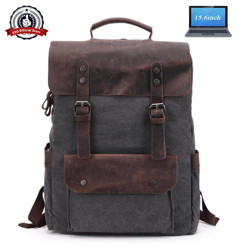 ESO High Quality Cow Leather + Canvas 15.6 inch Laptop Holder Men Travel Backpack Large Capacity Shoulder Bag