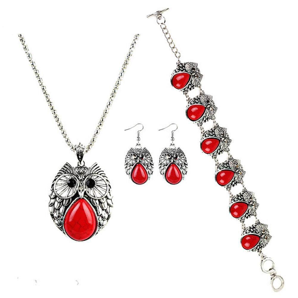 Linfang Wanita Kreativitas Perhiasan Three-Piece Lucu Pirus Liontin Burung Hantu Kalung Bagus Anting-