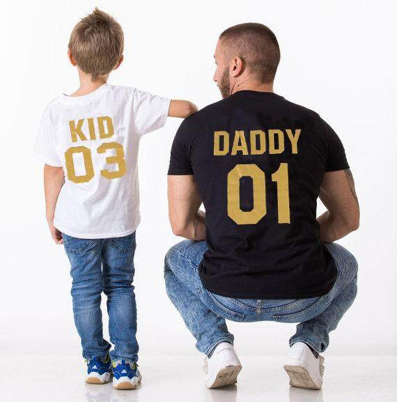 324a1898 DADDY 01 and KID 03 Letter Print Newest Family Matching Clothes Tops Father  Kid Summer Cotton