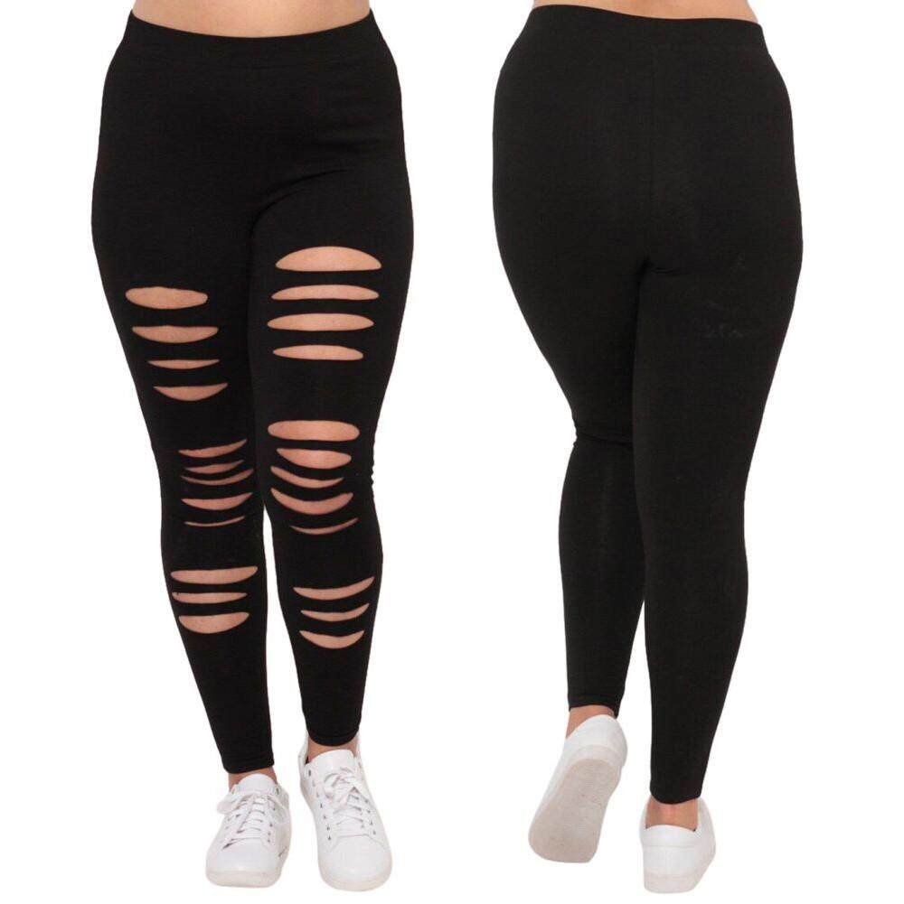 adad8b08a014f Fashion Plus Size Womens Sexy Leggings Trousers Yoga Sport Hole Casual Slim  Pants