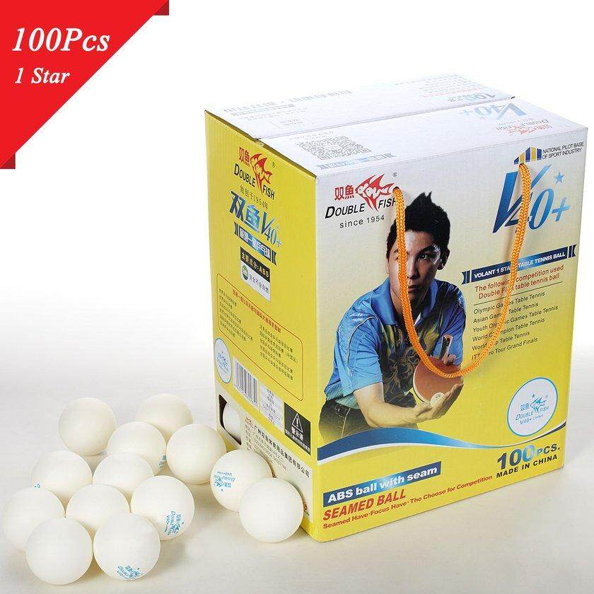 MakeAC 100pcs/set Double Fish V40+ 3 Stars Table Tennis Balls ABS Polymer Balls