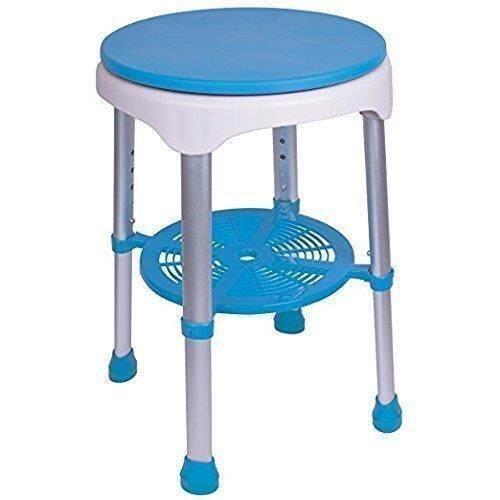 Mandi Bangku Bangku Bulat dengan Empuk Kursi Berputar, Putih dengan Biru Kursi-Intl