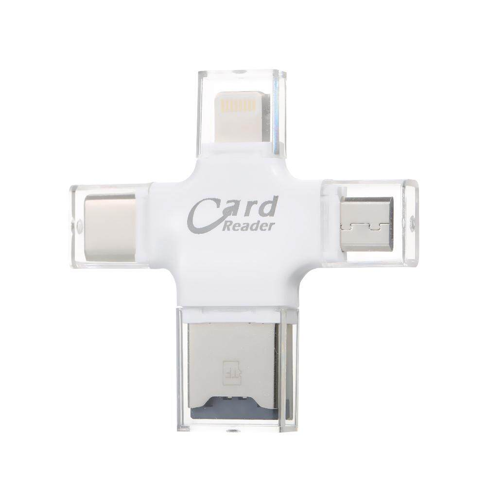 TF Card Reader 4-in-1 TF Memory Card Reader Adapter for iPhone/Android/PC - intl