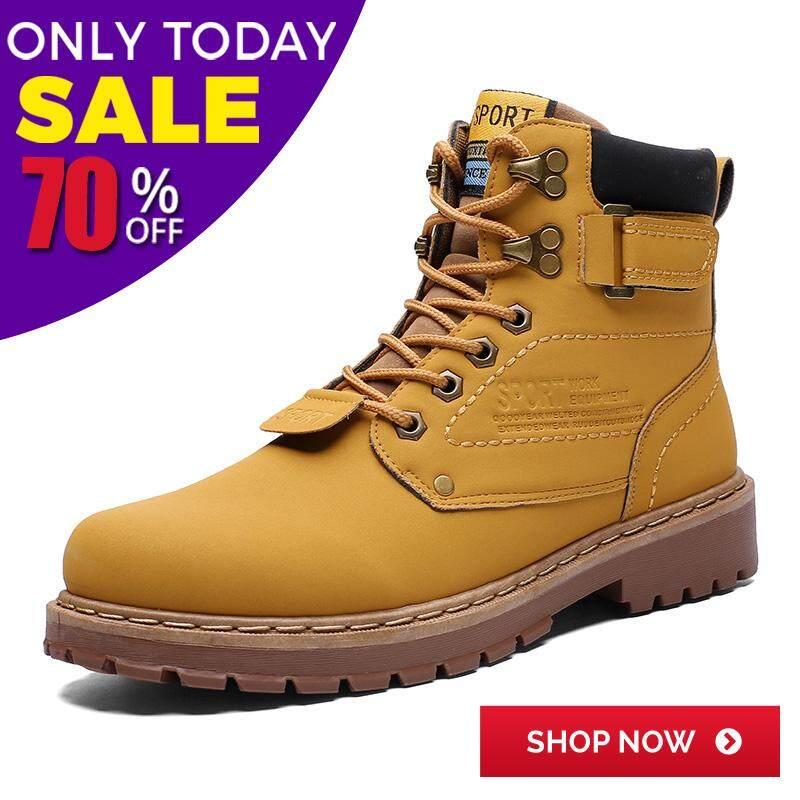 แฟชั่นผู้ชายคนใหม่ของรองเท้าสูงบนมาร์ตินรองเท้ารองเท้าทำงานลื่นทน (สีเหลือง, สีน้ำตาล, สีดำ)38-46 By Kira Store