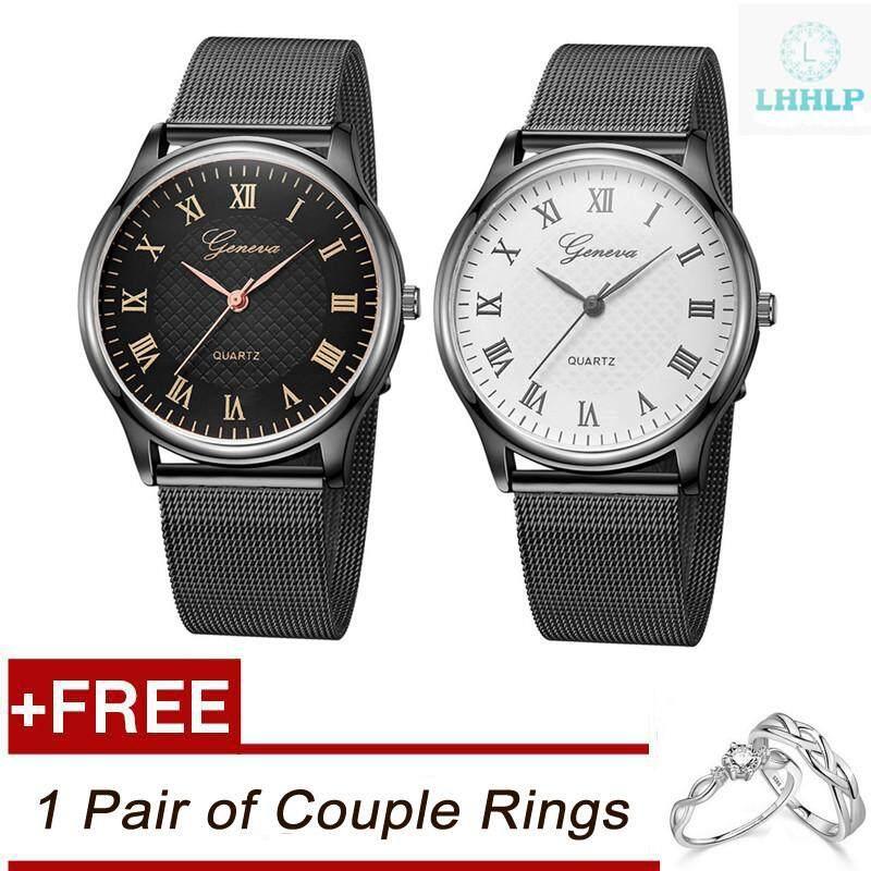 [ซื้อ 1 แถม 1] LHHLP ขายดี 1 คู่ Geneva 626/G9 แฟชั่นตัวเลขโรมันสายรัดข้อมือลายตาข่ายง่ายนาฬิกาควอตซ์คู่รัก
