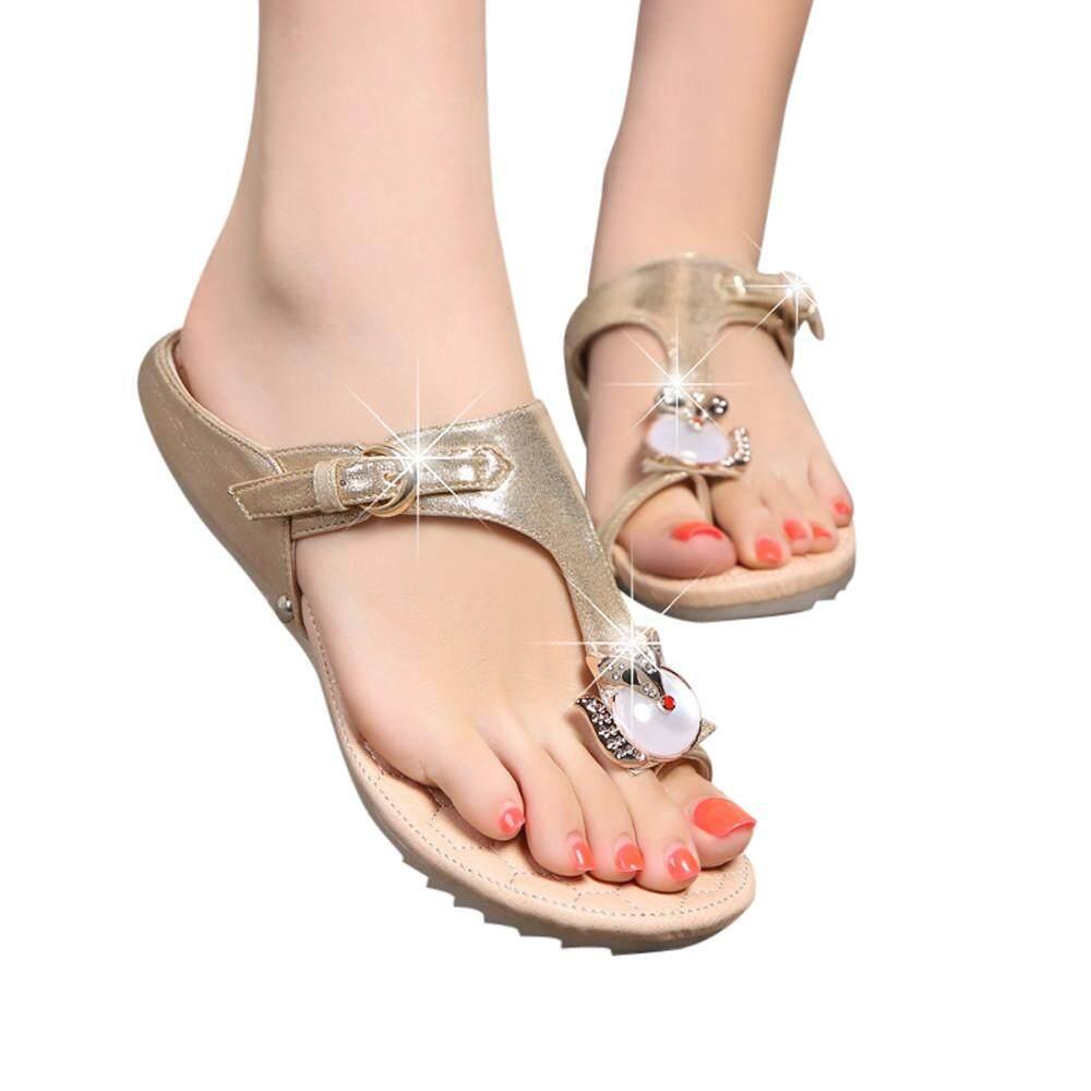 dd77836cbb93 Fashion Women Rhinestone Flat Heel Anti Skidding Beach Shoes Sandals Slipper  Kleinshop - intl